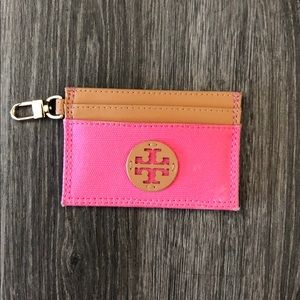 Pink Tory Burch card holder wallet